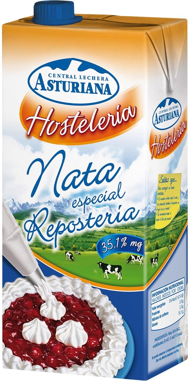 Nata per a muntar especial hosteleria 35% M.G. 1l. Asturiana