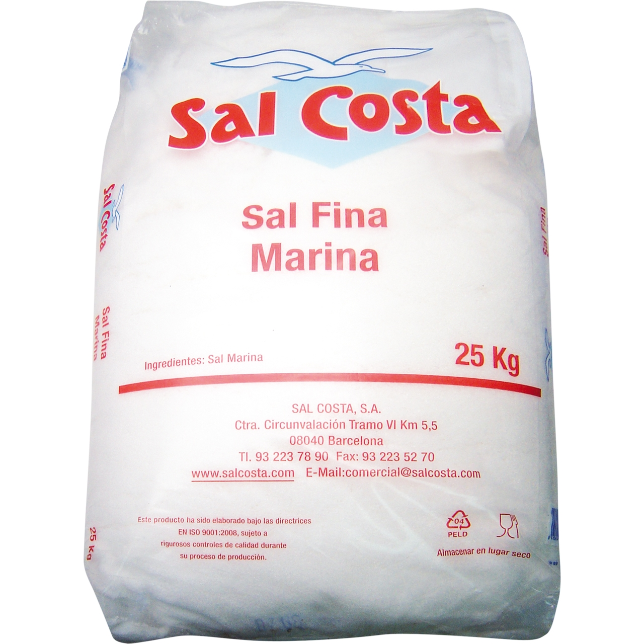 Sal Fina de taula 25kg. Sal Costa