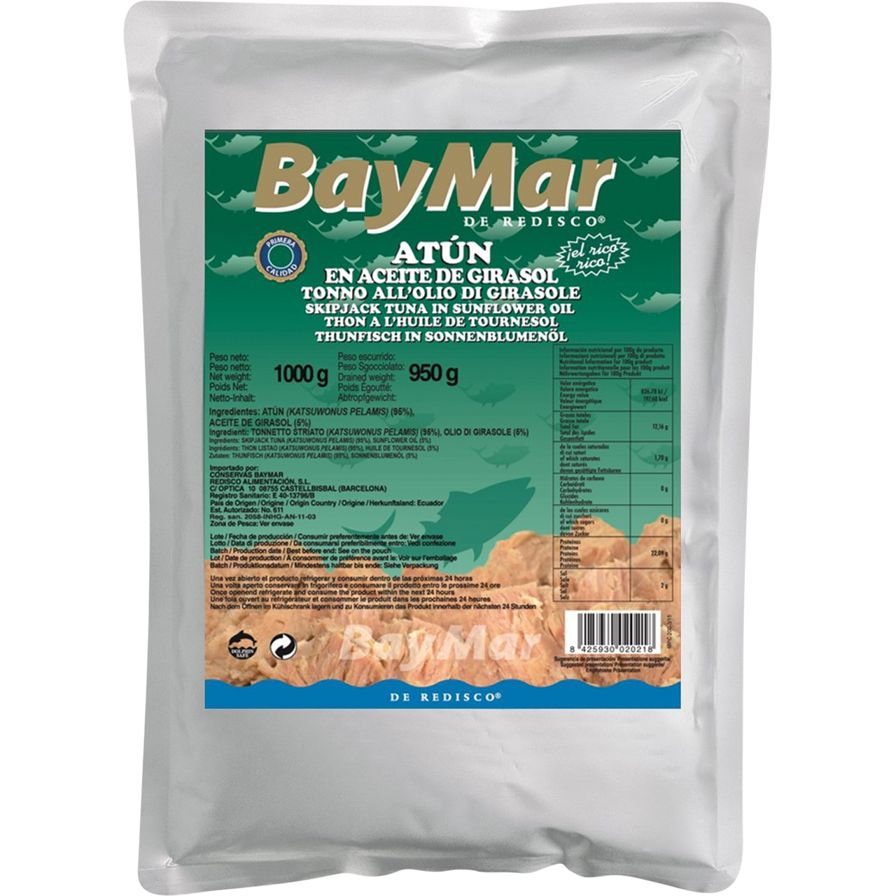 Atún en aceite de girasol 1kg. Baymar