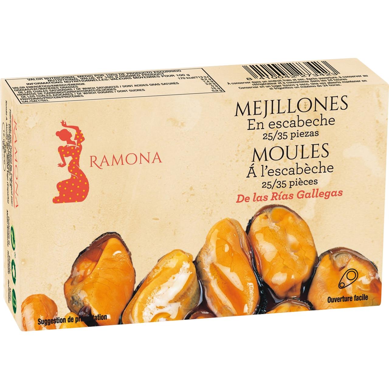 Mejillones en escabeche rias gallegas 25/35 OL 120 F.O. Ramona