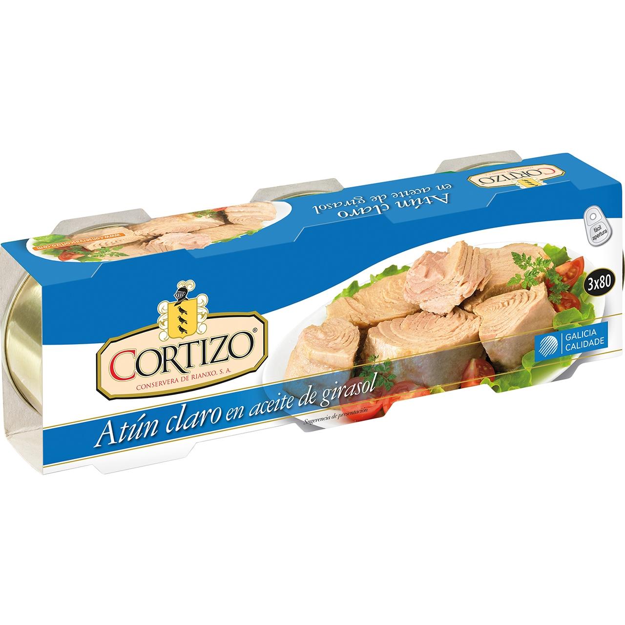Atún claro en aceite vegetal RO-85 pack de 3 Cortizo