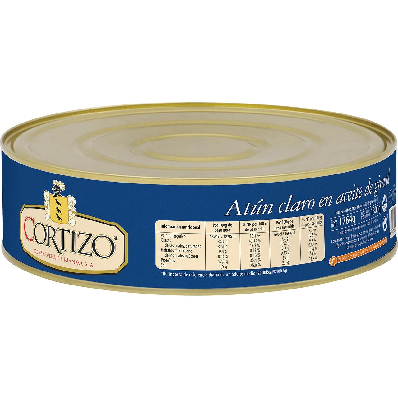 Atún claro en aceite vegetal RO-1800 Cortizo