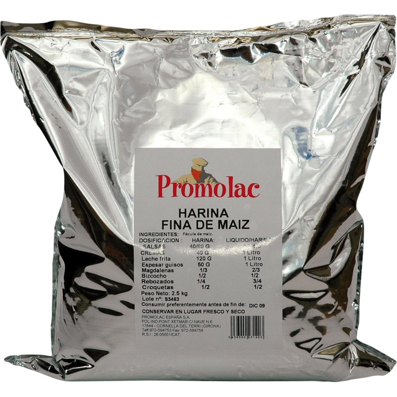 Harina fina maíz 2,5kg. Promolac