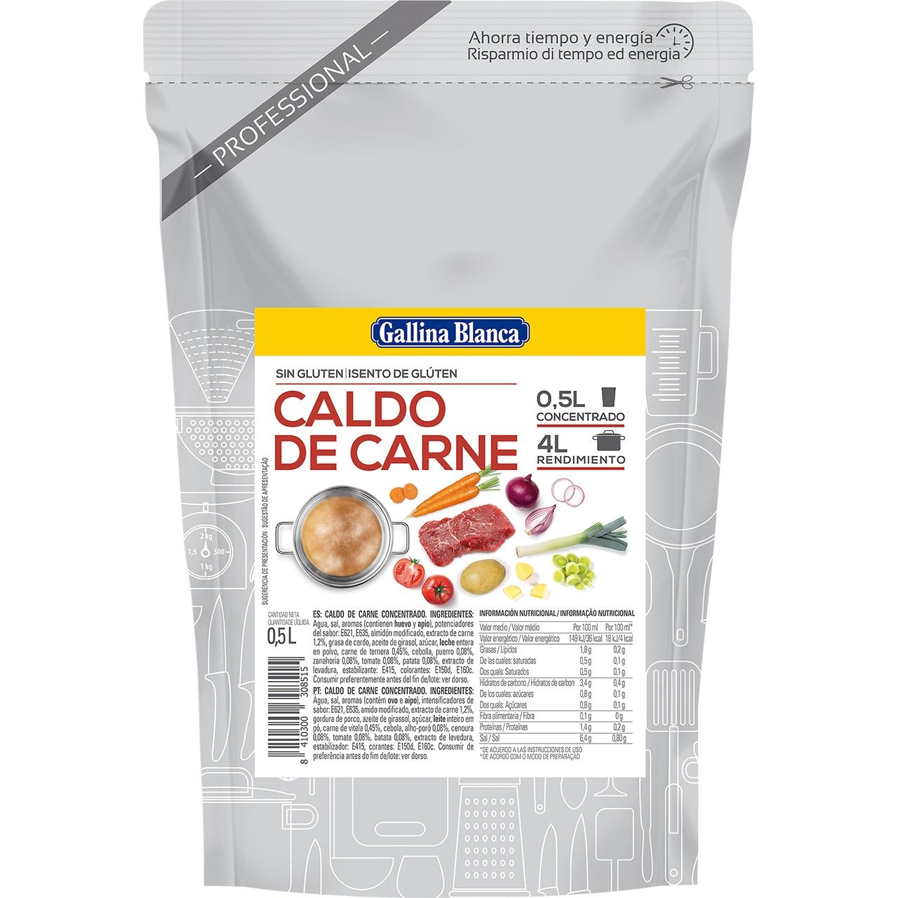 Caldo concentrado de carne 0,5l. Gallina Blanca